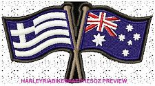 AUSTRALIA GREECE CROSSED FLAGS BIKER PATCH 100 X 55MM