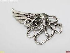 steampunk jewellery brooch badge pin octopus flying left wing kraken silver