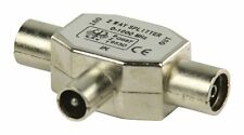 TV Aerial Coaxial Adapter Coax Male to 2 x Coax Female Silver 2 Way T Splitter