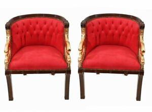 Pair Empire Chairs French Gilt Swan Armchair