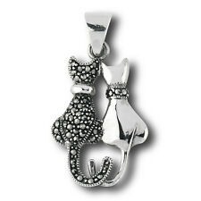 Snazzy Sterling Silver Pendant Cat Couple w/ Marcasite