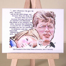 John F Kennedy ACEO art American President portrait and famous JFK quotation