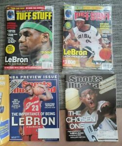LeBron James Rookie Magazine Lot (4) Sports Illustrated, Tuff Stuff Sealed MINT