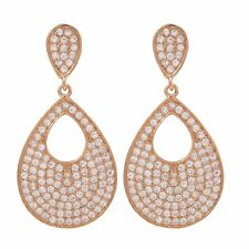 Rose Gold Plated Sterling Silver Pave CZ Teardrop Womens Post Clip Earrings