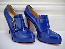 NEW CHRISTIAN LOUBOUTIN Lapono blue patent leather booties heels sz 39 US 7.5 8