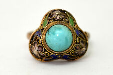 Vintage Chinese Silver and Natural Turquoise Enamel Filigree Ring Size 7 - 9