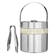Premier Housewares Ice Bucket With Mother Of Pearl Inlay Design, Silver - Lid
