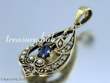 CP290- Lovely GENUINE 9ct Solid Gold NATURAL Sapphire & Pearl Drop  Pendant