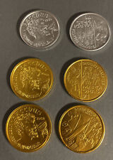 Lot Of 6 Bacchus Mardi Gras silver snd gold doubloons. 'Remember When.' 1970?