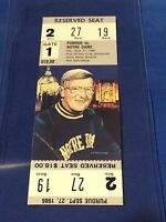Purdue vs Notre Dame Football Ticket Stub - September 27, 1986 Lou Holtz