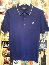Fred Perry Knitted Polo Royal Blue Small *Mod Indie*