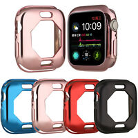 Gold Plated Soft TPU Case for iWatch Apple Watch Series 4 5 Cover Silicone Shell