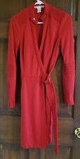 DIANE VON FURSTENBERG  red long sleeve wrap dress soft wool top stitch