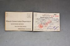 Illinois Hunting License 1945 Department Conservation Vintage Outdoor Sporting