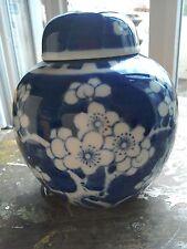 VINTAGE BLUE AND WHITE PRUNUS GINGER JAR