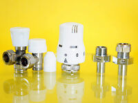 Thermostatic Radiator Valve 15mm Angled TRV & Lockshield Valves : 6342