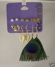 Claires Earrings hoops and studs pierced  Feather assortment 6 pairs