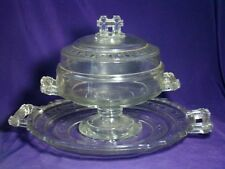 EAPG ~TWO BAND~ LIDDED COMPOTE & TRAY Doyle & Co 1880 (3 PC)