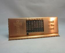 Vtg 1960's copper perpetual calenar with Christian motto,cross.Trust in The Lord
