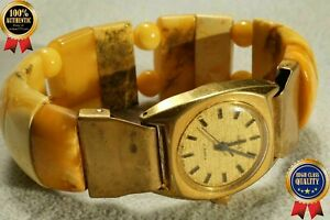 ANTIQUE AUTHENTIC RARE NATURAL BALTIC AMBER WITH CLOCK BRACELET 51 GRAMS