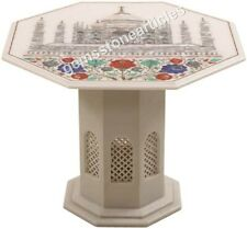 "26""x26"" Top White Marble Coffee Table Historical Taj Mahal Art Black Friday Gift"