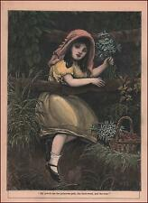 GIRL PICKING PRIMROSE FLOWERS, HAND COLORED ENGAVING, ANTIQUE 1901