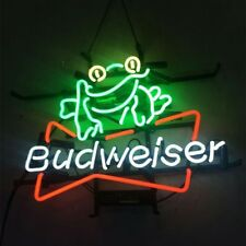 "17""*14"" Budweiser Bud Frog Custom Retro Real Glass Pub Beer Bar Neon Light Sign"