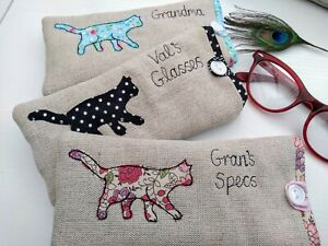 Handmade Personalised Cat Glasses Sunglasses Case Choice of colour & wording