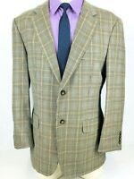 42R Oak Creek Mens Silk Wool 2 Button Blazer Jacket Beige Glen Check Mint!
