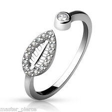 TJS .925 Sterling Silver Adjustable Toe Ring with CZ Paved Leaf Body Jewellery