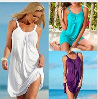Fashion Women Lady Summer Beach Sleeveless Party Dress Short Mini Sundress Tops