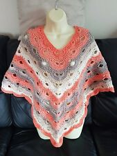 Lovely hand made multi coloured virus patterned poncho crochet wrap One size