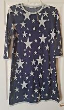 ASOS Women's Blue Silver Metallic Stars Crew Neck Jumper Dress Top  Size 14/42