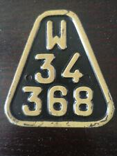 RARE Vintage 1952 Poland Polish Bicycle License Plate