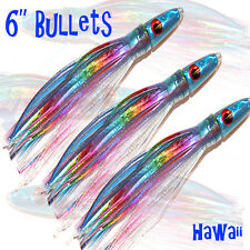 "3x 6"" Hawaii Bullet Skirted Trolling Game Fishing Lure Tuna Marlin Lures Abalone"