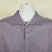 Bugatchi Uomo Lavender Purple Houndstooth Mens Dress Button Shirt Size 17.5 - XL