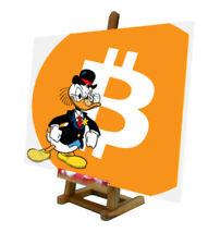 Quadro pop art Rockerduck Bitcoin Ripple Litecoin Ethereum Stellar criptovaluta