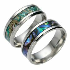Pipe Cut Titanium Ring with Rainbow Rippled Abalone Inlay Wedding Band 8mm 6-13