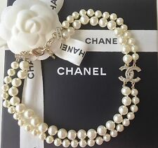 CHANEL 2017 DOUBLE STRAND GOLD CRYSTAL CC PEARL NECKLACE NEW