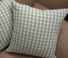 REVERSIBLE Laura Ashley Duck Egg  Blue Gingham Check Fabric Cushion Cover