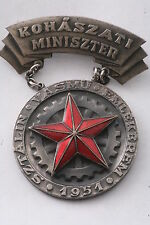 RRR! Hungary Hungarian Stalin Iron Worker Ministry Metallurgy Rakosi Medal Badge