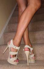 Aldo nude beige scamosciati pelle verniciata con cinturini plateau tacco alto sandali 7.5 41