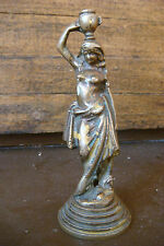 Antique Bronze nude female posing while supporting a vessel on her head Statue