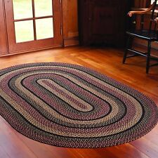 IHF Home Decor Oval Braided Area Rug Blackberry Design Jute Fabric 4 x 6 Feet