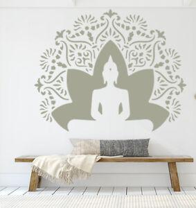 Buddha STENCIL Lotus Flower Mandala Yoga Paint Wall Furniture Reusable Art QU106