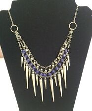 Avon Gold Spiky Blue Crystal Necklace Chain