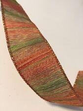 "Autumn Fall Stripes Orange Red Green WIRE EDGED RIBBON 1-1/2"" x 5 Yards"