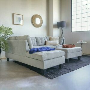 Contemporary 3PC Grey Sectional Sofa Microsuede Reversible Chaise with Ottoman