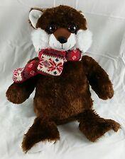 Dan Dee Collectors Choice Teddy Bear Plush, Brown & White, Knit Scarf, Big Eyes!