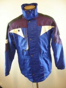 Mens sz S Vtg Spyder Ski Snowboard Jacket Blue Purple Black Removable Liner Hood